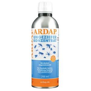 ARDAP -STOP škodcom,  KONCENTROVANÝ- roztok proti škodcom určený najmä pre veterinárov a chovateľov zvierat 200ml